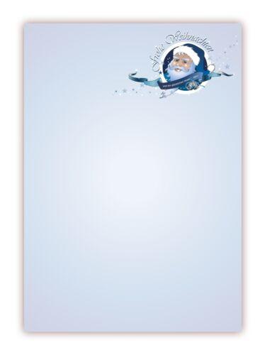Motiv Briefpapier Weihnachtsmann blau Weihnachten-5047, DIN A4 25 Blatt