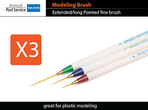 X3-LONG-Brush-Modeling-Pointed-Craft-Tool-Plastic-Paint-fine-fit-tamiya-vallejo