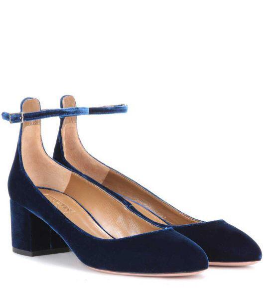 NIB AQUAZZURA Alix Authentic Velvet Court Heels Pumps shoes Prussian bluee 37.5