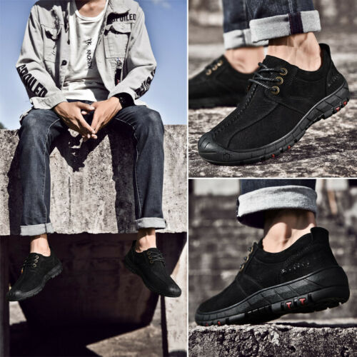 Men Leather Breathable Shoes Lace up Outdoor Casual Moccasin Driving Oxfords NEW