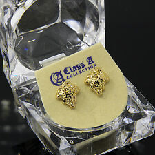 Men's Gold Plated 14k Hip Hop Chipped Gold Nugget Butterfly Back Stud Earring