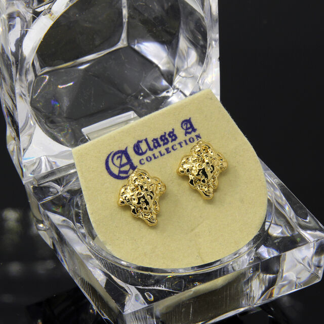 d0289c5f27b89 Men's Gold Plated 14k Hip Hop Chipped Gold Nugget Butterfly Back Stud  Earring