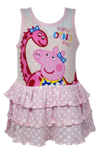 Licensed Peppa Pig Cotton Dress for Girls in Pink Sleeveless