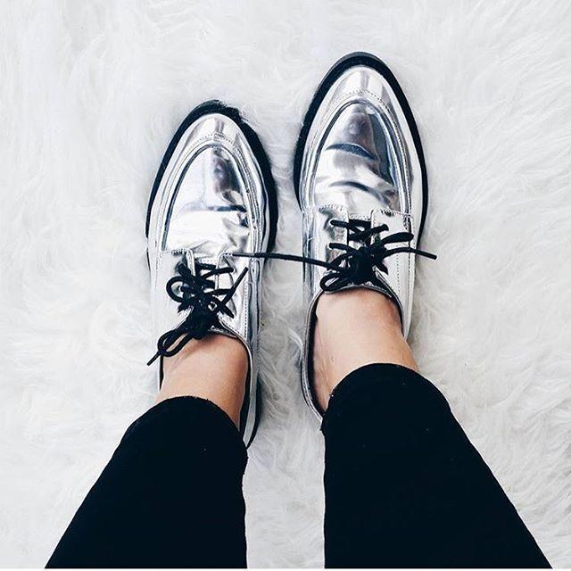 Zara Bloggers argent métallisé Blücher Oxford Plat chaussures EUR 36, US 6, UK 3