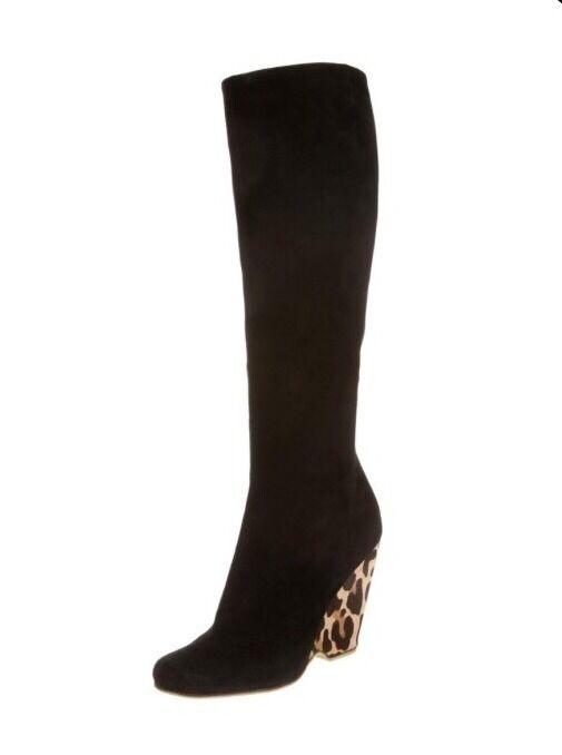 GIUSEPPE ZANOTTISuede Mohair Animal Print Wedge Black Boots Size 36