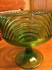 E. O. Brody Co Green Swirl Glass Pedestal Compote Dish