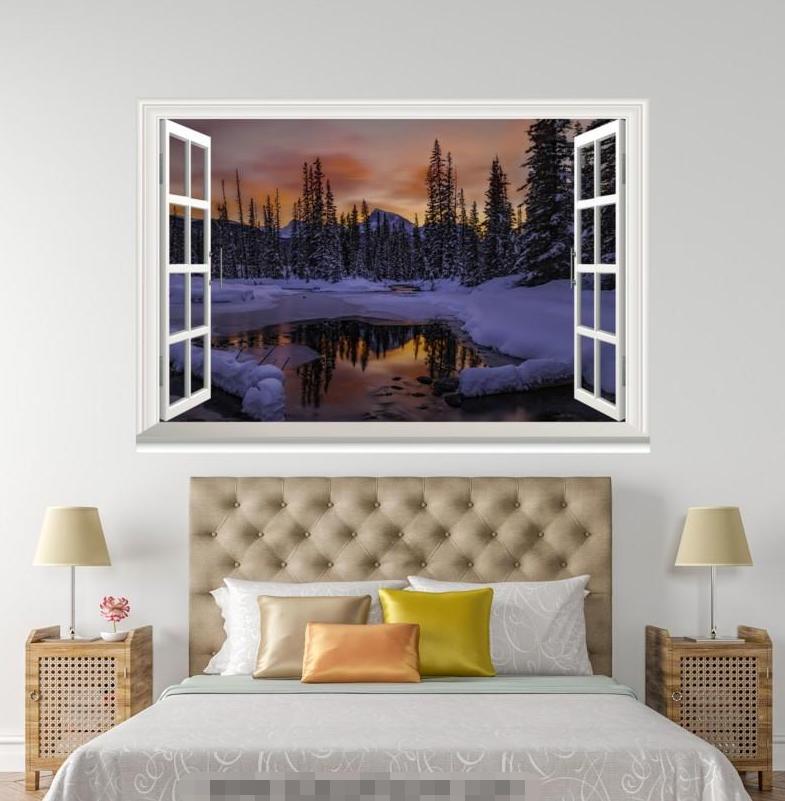 3D Snow Road Night Sky 004 Open Windows WallPaper Murals Wall Print AJ Jenny