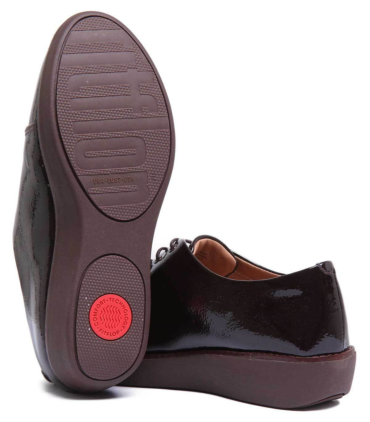 Fitflop Leder Derby Damens Patent Leder Fitflop Berry Derby Schuhes Größe UK 3 - 8 5f0463