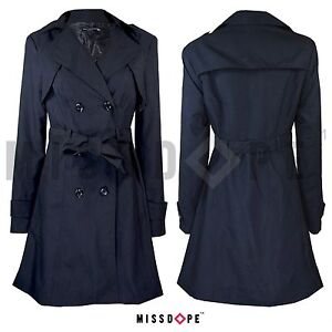 classic chic hot products special price for Details about NEW BLACK WOMENS MAC TRENCH COAT JACKET DOUBLE BREASTED  BELTED OUTWEAR OFFICE UK