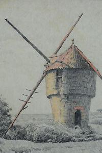 Beau Tableau Dessin Art Nouveau Bretagne Paysage Moulin Guérande A. Gauret 1900 Exquis (En) Finition