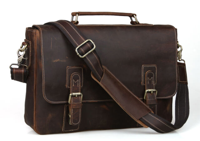 "Real Leather Briefcase Thick Men Business Messenger Shoulder Bag 16"" Laptop Tote"