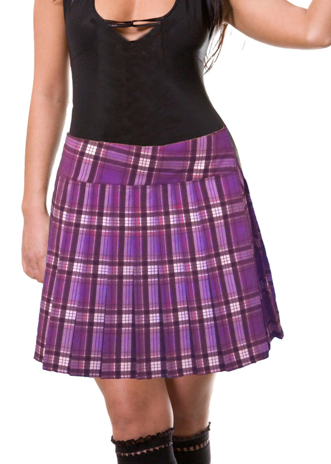 PURPLE SCHOOLGIRL TARTAN PLAID PLEATED LONG SKIRT ( Purple 17  Long )