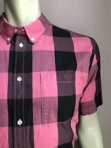 WeSC Shirt, Salmon-Black Buffalo Plaid, XL, Short-Sleeved, NWOT