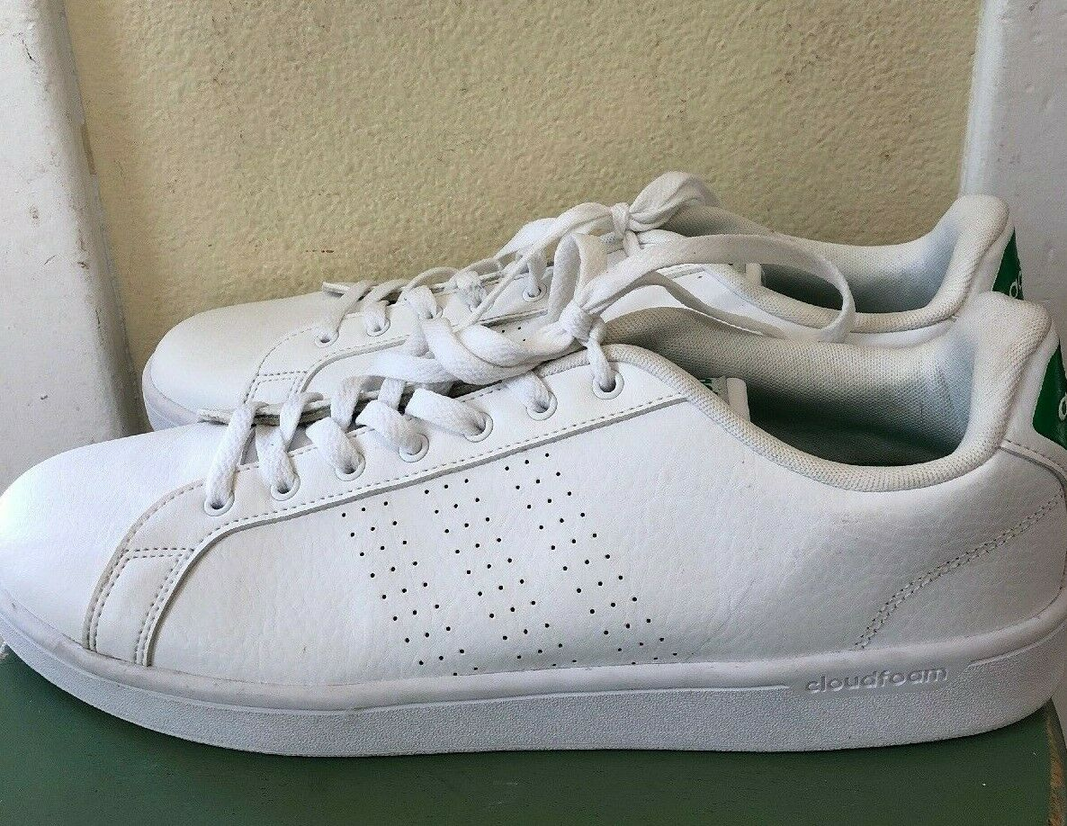 Men's Adidas Neo Cloudfoam White & Green Leather Sneakers Size 14