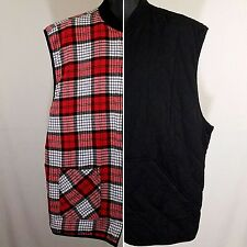 Marlboro Country Store Reversible Vest Vtg 90s Full Zip Black Red Plaid Mens XL