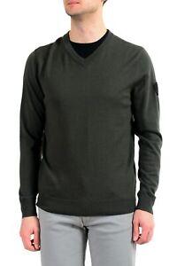 Emporio-Armani-EA7-034-Ski-034-Men-039-s-Dark-Green-100-Wool-V-Neck-Sweater