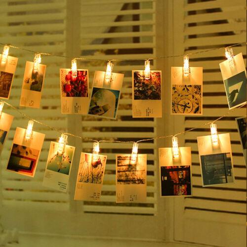 20 LED Lichterkette Foto Clips Klammern Stimmungslicht Warmweiß Dekoration Licht