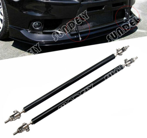 "BLACK ADJUSTABLE 9.7/"" 13.2/"" FRONT BUMPER LIP SPLITTER ROD STRUT TIE BAR SUPPORT"