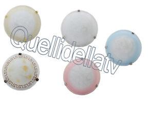 Plafoniera Soffitto E27 : Plafoniera soffitto vetro satinato decorata cm lampada e