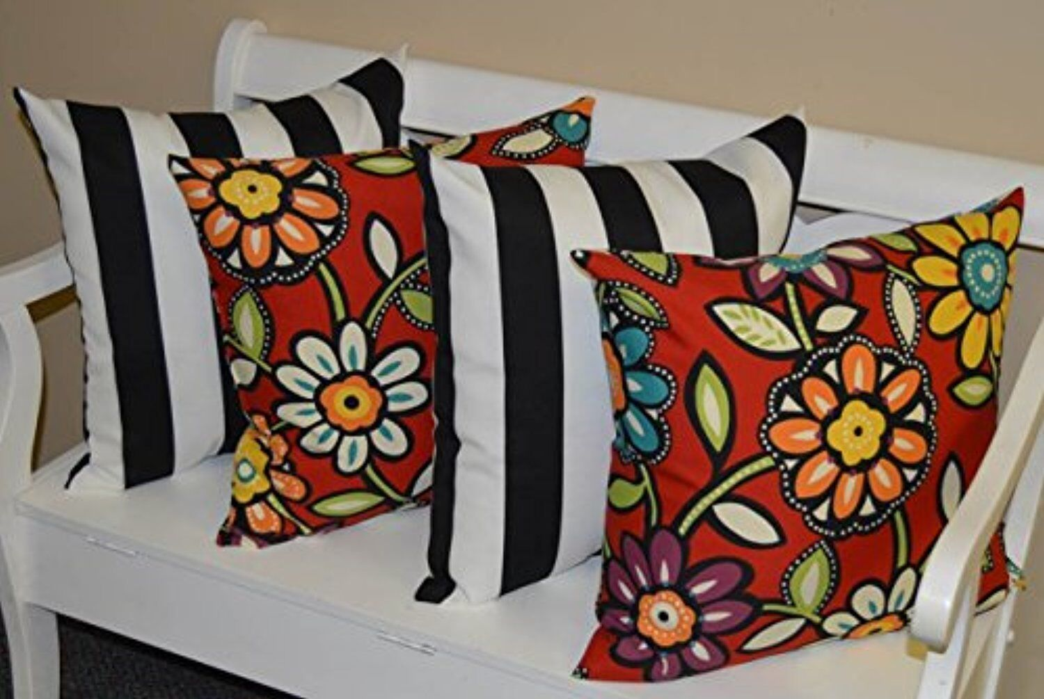 4 Pack 23 Square Black White Stripe Red Floral Outdoor Throw Pillows For Sale Online Ebay