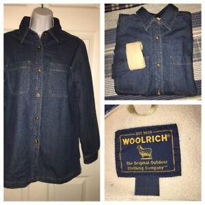 Woolrich-Womens-Blue-Denim-Fleece-Lined-Button-Front-Shirt-Barn-Jacket-Sz-S-EUC