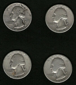 Lot-of-4-Silver-US-Washington-Quarters-Year-1944-FREE-Shipping