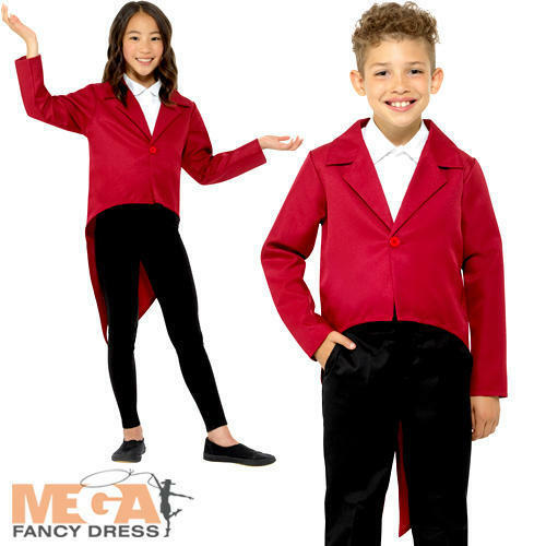 Red Tailcoat Kids Fancy Dress Showtime Boys Girls Children Costume Accessory NEW afficher le titre d'origine