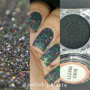 Holographic Holo Black Laser Effect Powder Nail Art Glitter Manicure