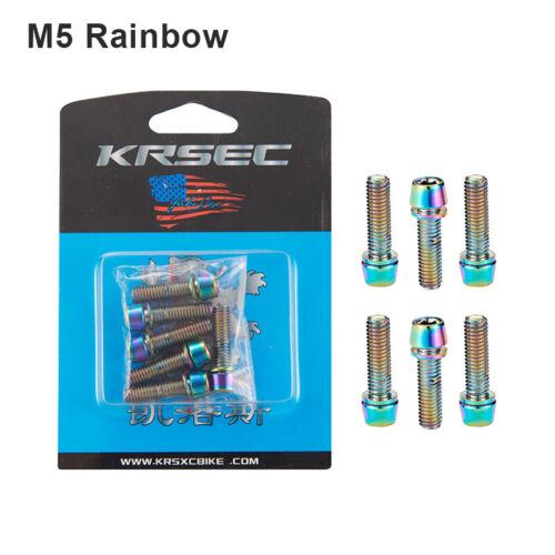 6PCS Stem Screws Bolts With Washer M5*18mm//M6*18mm MTB Road Bike Gold//Rainbow