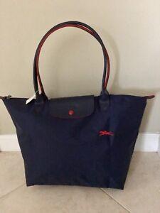 6ec31e5161 LONGCHAMP Bag LE CLUB PLIAGE Limited Edition NAVY & RED Large Long ...