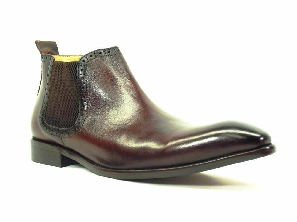 Carrucci Men's Leather Chelsea Boots Chestnut Dress shoes KB503-11