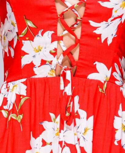 Skater Dress  Floral Front Tie Floral  Print Red Parisian