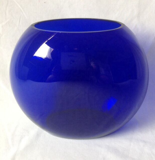 Colbalt Blue Art Glass Pillow Vase Round Oval Hand Blown? Unsigned