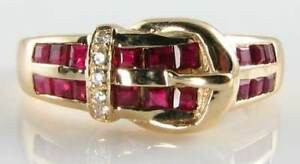 CLASS 9CT YELLOW GOLD ART DECO INS INDIAN RUBY amp DIAMOND BUCKLE RING - NOTTINGHAM, Nottinghamshire, United Kingdom - CLASS 9CT YELLOW GOLD ART DECO INS INDIAN RUBY amp DIAMOND BUCKLE RING - NOTTINGHAM, Nottinghamshire, United Kingdom