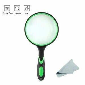 Rubber Handle Magnifier for Reading Insect 100mm 4X Magnifying Glass