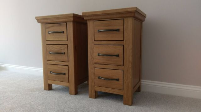Matching Pair Modern Oak Bedside Tables Small Slim Solid Wood Bedroom Cabinet Ebay