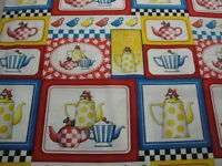 tea Time Multi Patch-mary Englebreit For Quilting Treasures-bty-teapots-cups
