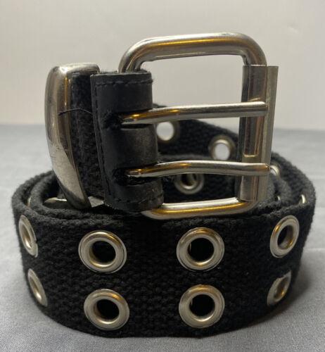 Womens Size M Black Double Grommet Belt