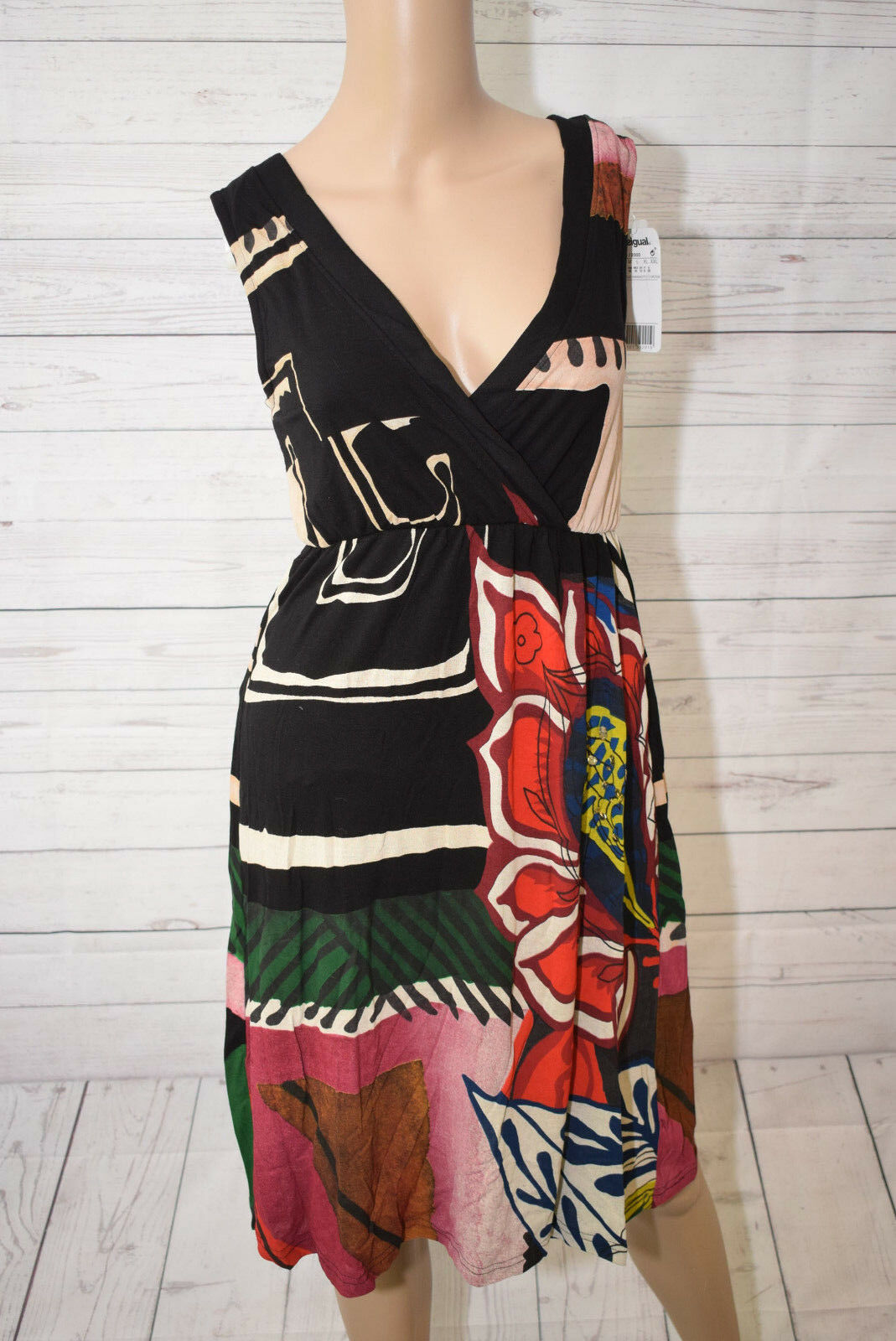Desigual Damen A-Linie Kleid, mit Print, Schwarz, Gr. S