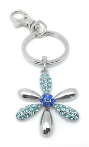 Purse-Charm-Crystal-Blue-Silver-Plated-Key-Chain-Ring-Flower-Mothers-Day-Gifts