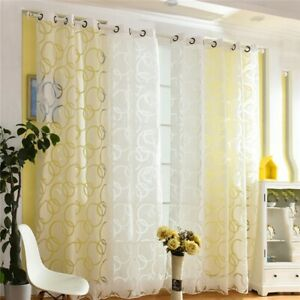 Details About 1pc Window Sheer Curtains Circle Printed Fancy Screening Home Decor New