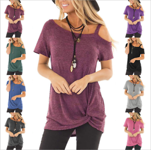 Womens Cold Off Shoulder Tops T Shirt Cut Out Short Sleeve Summer Top Tee Blouse