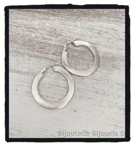 Boucles D/'oreilles Créoles Motifs Striés En Argent Massif 925//1000 Bijoux Femme