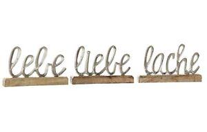 3x-Schriftzug-Lebe-Liebe-Lache-Alu-Hoehe-12-5-cm-silber-Tischdeko-Aufsteller