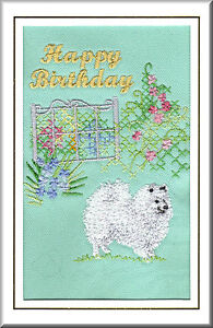 Image Is Loading Japanese Spitz Birthday Card Embroidered By Dogmania FREE