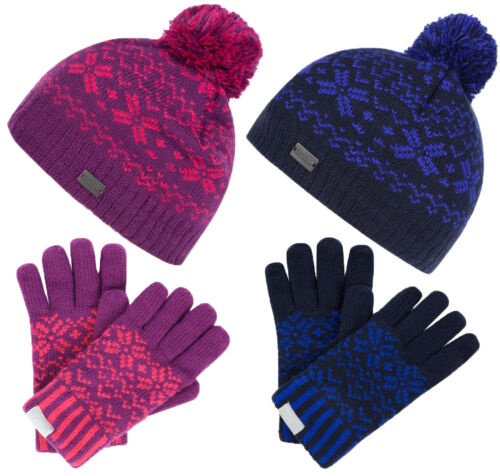 Regatta Hats /& Gloves Sets Childrens Kids Warm Cosy Winter Snowflake Outdoors