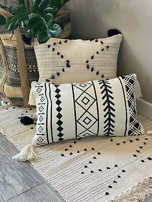 Boho Decorative Throw Pillow Cover with Tassels Handmade Square Pillowcase Woven Tufted  Boho Pillow Shell Coushion Cove No Insert