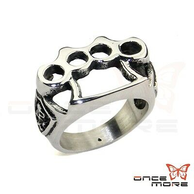 316L Stainless Steel Knuckle SKull Style Men's Punk Ring Biker Sooter Ring 7~13