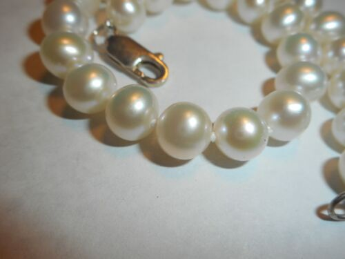 """8mm Quality Cultured WHITE Pearl Bracelet Ster clasp knotted silk 7.25/"""" MINT"""