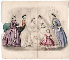 Victorian Fashion Plate GODEY'S FASHIONS FOR JANUARY 1865 2 BRIDES/WEDDING GOWNS